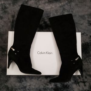 "Calvin Klein Black Suede Leather Liv 3"" Heel Boots"